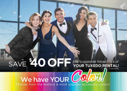Tuxedo, Suit Rentals & Sales Order, Pick Up & Return to our store