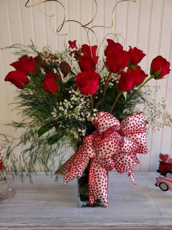 Twenty Red Roses Vase Arrangement