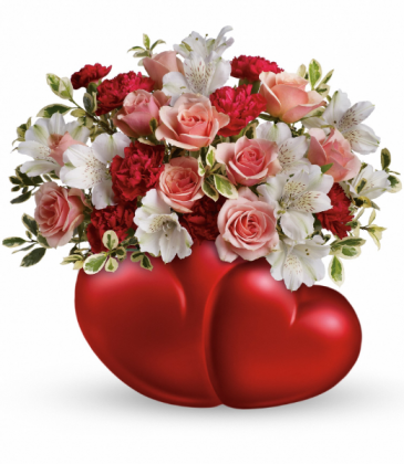 Twin Hearts  One-Sided Floral Arrangement