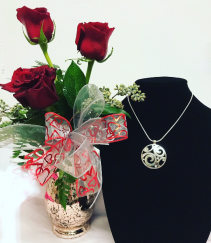 Twinkle Her Heart with Brighton Jewelry  ROSES IN VASE WITH NECKLACE