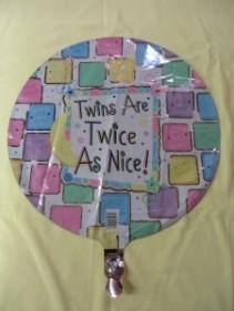 Twins are Twice as Nice Mylar Balloon