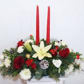 Two Candle Christmas Centerpiece
