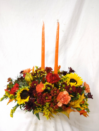 Two Candle Fall Centerpiece