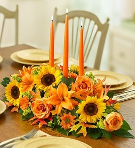 Three Candle Thanksgiving Centerpiece in New Port Richey, FL | FLOWERS TODAY FLORIST