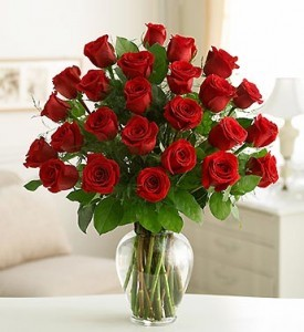 SHOW HER YOU LOVE HER Two dozen long stem red roses arranged in a vase