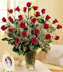 Two Dozen Long Stem Red Roses  Valentine's Day