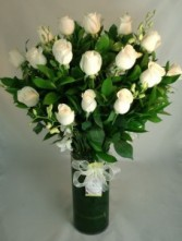 Two Dozen Long Stem White Roses with Orchids
