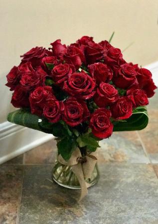 Two Dozen Modern Rose Vase