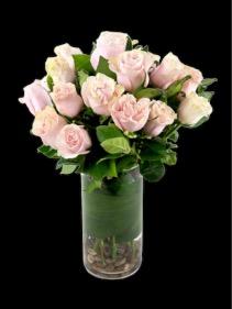 Two Dozen pink Roses in Vase Round
