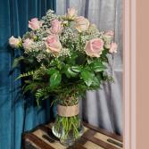 Two Dozen Pink Roses  Vase Arrangement