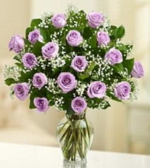 Two Dozen Purple Roses Vase
