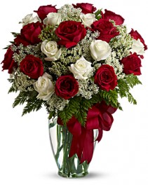 Two Dozen Red and White Roses