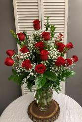 Two Dozen Red Rose Arrangement with Filler Flower Tall Vase Arrangement