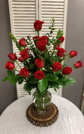 Two Dozen Red Rose Arrangement with No Filler  Tall Vase Arrangement
