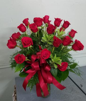 Two Dozen Red Rose Vase Roses