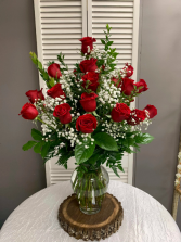Two Dozen Red Roses Arranged With A Filler Flowers Vase Arrangement