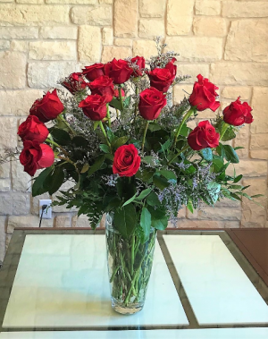 Two Dozen Red Roses Long Stem Rose Vase Arrangement in Buda, TX | Budaful Flowers