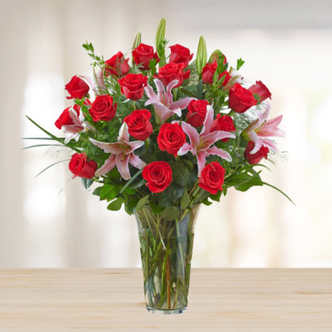 Two Dozen Red Roses with Lilies Mixed Rose Arrangement