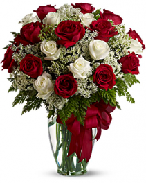 Two Dozen Red & White Roses