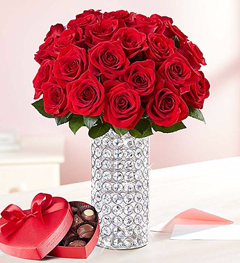 Two Dozen Romantic Red Roses and Chocolate