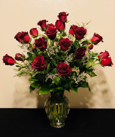 Classic Two Dozen Red Rose Arrangement