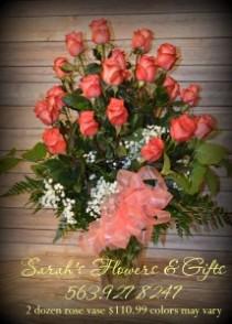 Two Dozen Rose Vase Arrangement