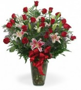 Two Dozen Rose Vase With Stargazer Lily