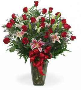 Two Dozen Rose Vase With Stargazer Lily