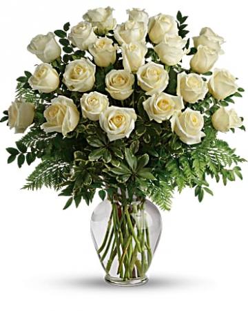 Two Dozen White Roses Vase Arrangement