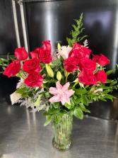 Two Dozen Roses  Premium with Lilies