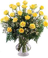 Two Dozen Yellow Roses Vase Arrangement
