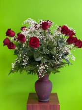 Two dozens roses Red vase two doz rose