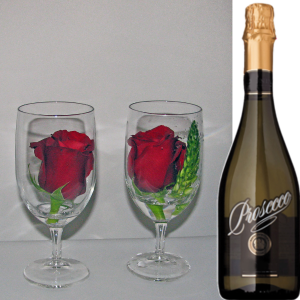 Two Glasses & Prosecco Romance in Brentwood Bay, BC | PETALS N BUDS BRENTWOOD BAY FLORIST