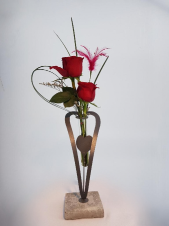 Two Hearts as One  Two Roses in a Special Heart Vase