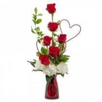 Two Hearts on Fire Fresh Flower Arrangement