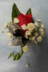 Two Ribbon Red Rose Boutonniere