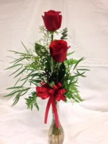 Two Roses in a Vase Vase Arrangement