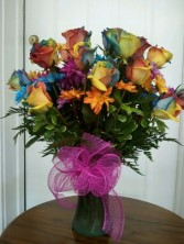 Tye Dye Rose Arrangement Occasion
