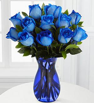 UConn Graduation Blue Rose Arrangement