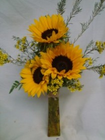 3 Large Sunflowers with filler in colorful vase!