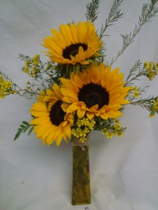 3 Large Sunflowers with filler in a tall vase! SEASONAL SO WE MAY NEED TO SUBSTITUTE YELLOW GERBERA DAISIIES, also vase may be clear if colored out of stock.