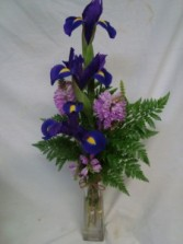 3 IRIS in a Bud Vase with Filler!