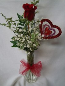 "For my""One and Only"" 1 red rose in a bud vase with baby's breath and a heart pic!"