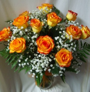 Dozen Two Toned Yellow And Orange Tipped Roses Or Orange Roses
