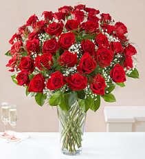 Ultimate Elegance Long Stemmed Red Roses Vase Arrangement