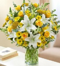 Ultimate Elegance Yellow and White Vased Arrangement