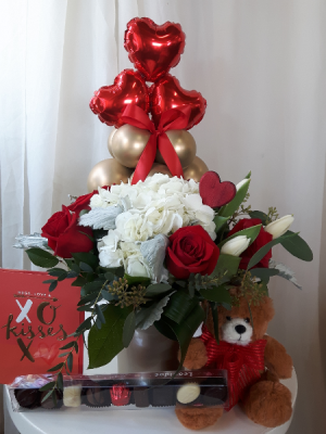 Ultimate Golden Flowers, Balloons, Teddy Bear,  Chocolate & Card Package  in Woodbridge, ON | PRIMAVERA FLOWERS & MORE