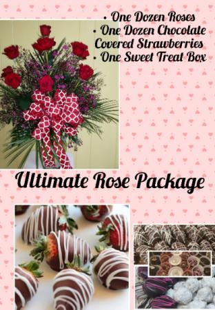 Ultimate Rose Package  Roses, Strawberries, sweet box