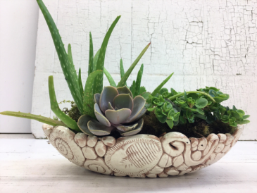 Under the Sea Ceramic Succulent Bowl Handcrafted Artist Made