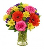 UNFORGETTABLE SUMMER BOUQUET Roses, gerbera daisies, yellow daisies, green button and purple status!